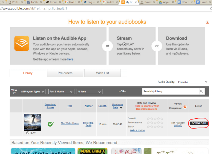 Browser Audible Library
